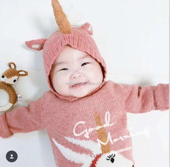 Autumn and Winter Baby Hats Hot Sale Child Unicorn Hats Toddler Kids Warm  Knitted Hat 6787f951927