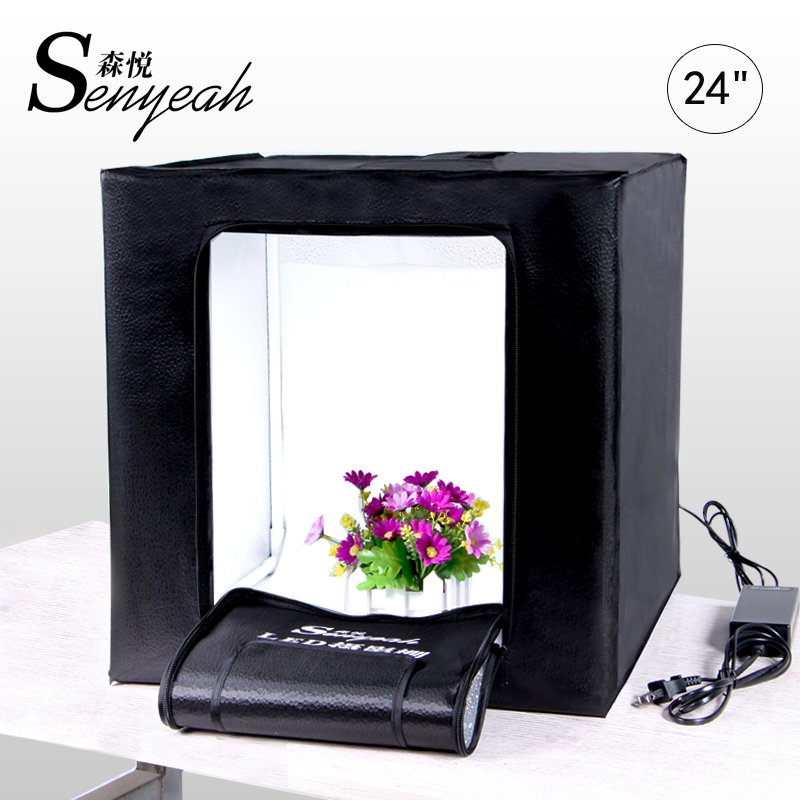 "24"" 60cm LED Light Box Portable Light Tent With Dimmer Adapter for Camera Photo Studio light Jewelry Toys Shoting"