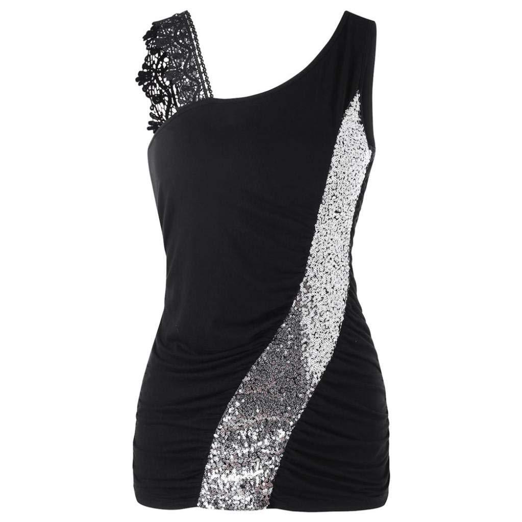 Womens Top, Franterd Summer Women Sexy Lace Glittering Skew Collar Sequined Tank Tops Girl Vest