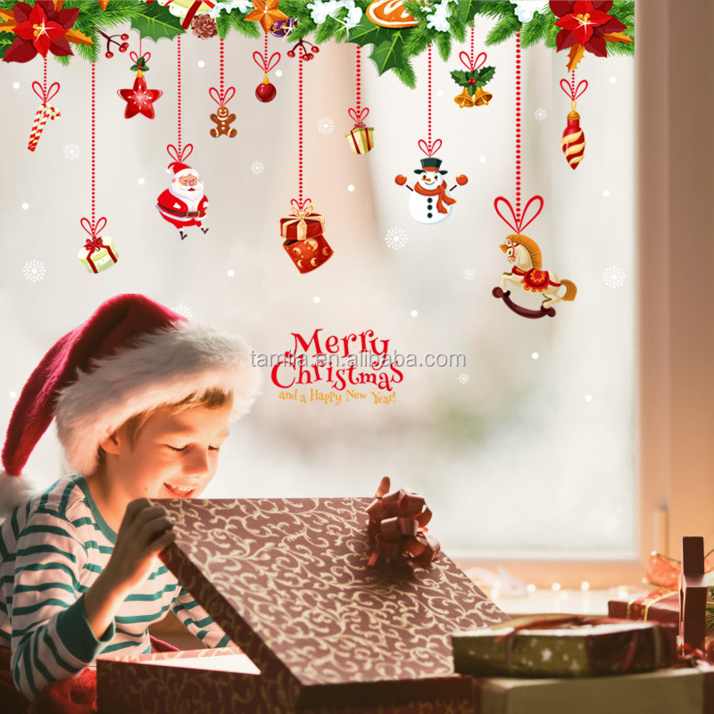 2018 PVC New Design Window Decal Removable Merry Christmas Decoration Wall Stickers