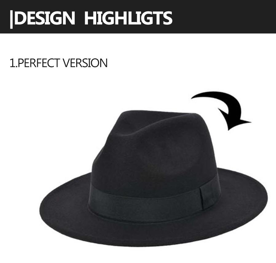 8435d06ba608b Roll Brim Men Women Woolen Felt Fedora Hat Buckle British Style ...