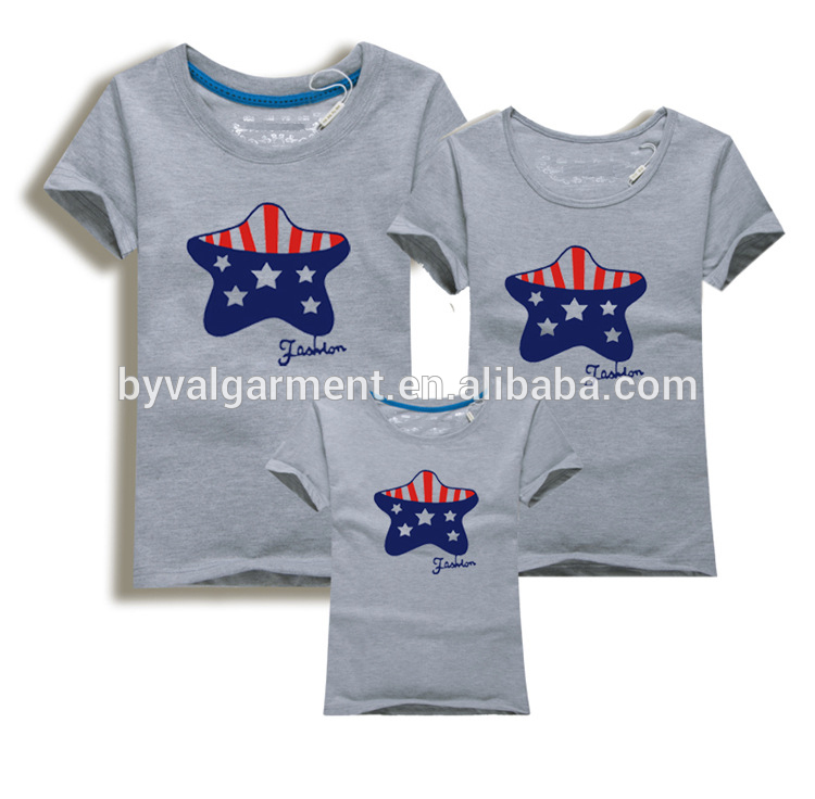 China wholesale family t shirt design,parent-child clothing,short sleeve o neck printing t shirts