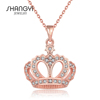 Diamante Rose Gold Crown Jewellery Pendant Necklace