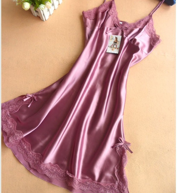 12Colors 2015 Ladies satin silk lingerie dress xxl sleeveless nightie hot  sexy negligee slim nightgown lace sleepwear aa1a128dc