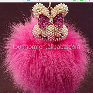 2016 Christmas gift fashion various rex rabbit fur ball for keychain /shoe