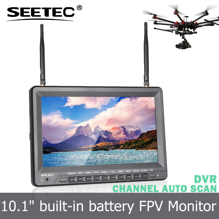 10.1 inch fpv monitor 32ch 5.8g wireless diversity receivers high brightness 500cd/m2 portable DVR mini helicopter with camera