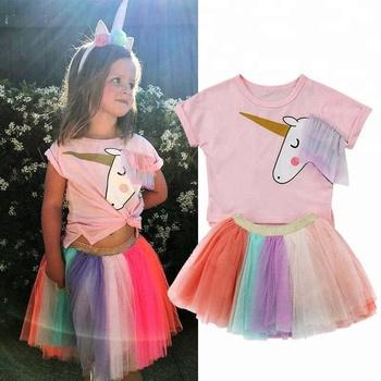1c03a7af0a Girls Clothing Set Short Sleeve unicorn T shirt Rainbow Color Tutu Skirt