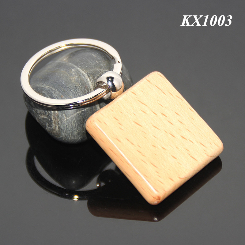 Square Wooden Material Keychain Promotional Custom Or Wholesale Metal Keyring Blank Wood Keyholder