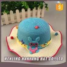 Most Popular Little Girls Cute Straw Paper Kids Hat With Flowers Bowknot