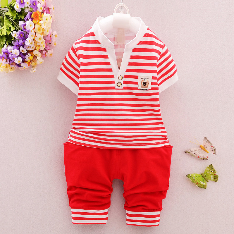 2017 summer striped design boy's clothing sets 2 pieces baby boy clothing set wholesale