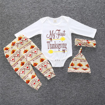 Infant Toddlers Autumn Clothes Sets My First Thanksgiving Letter