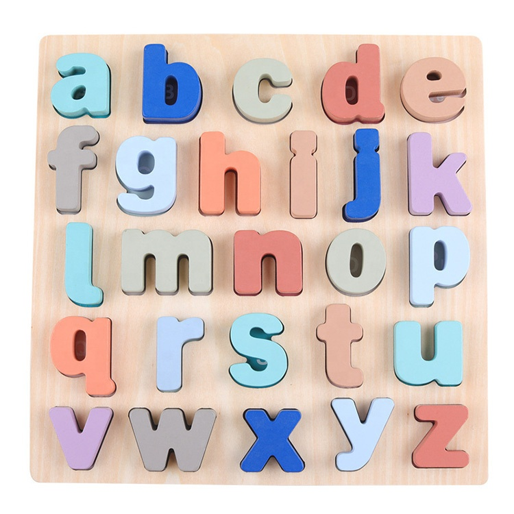 Wood Early Educational Learning Toys Gifts Number Alphabet wooden puzzle