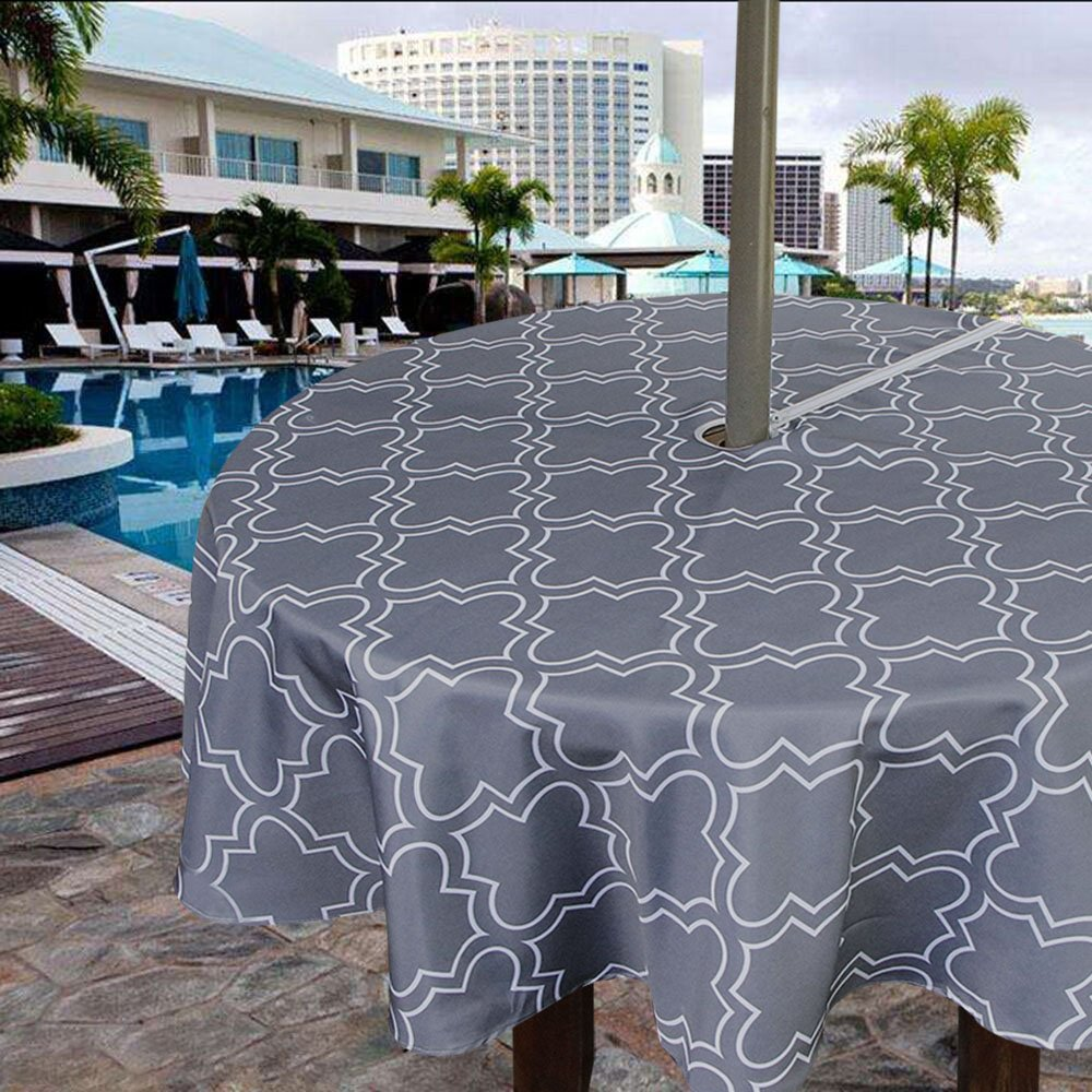 Iisutas Outdoor Patio Tablecloth With Umbrella Hole And Zipper, Water And  Stain Resistant Fabric Table