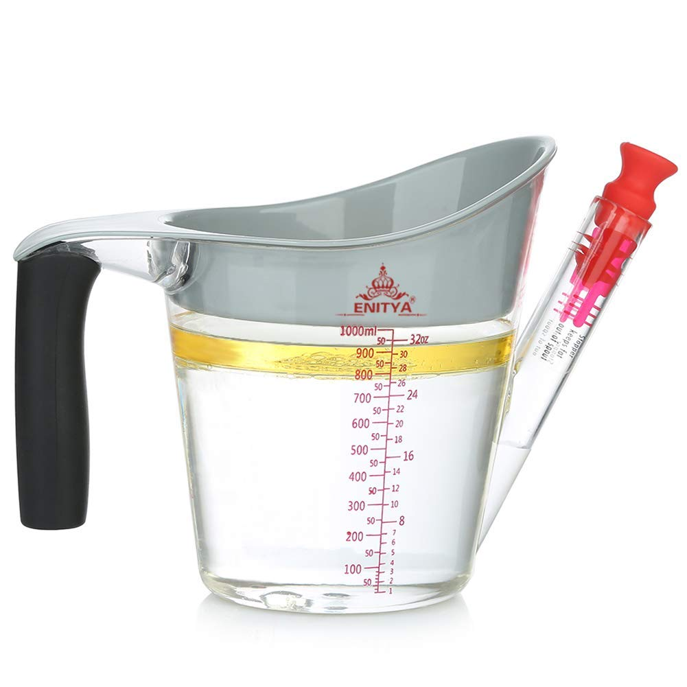 ENITYA Fat Separator with Strainers 4 Cup Gravy Separartor Fat Oil Measuring Cup Stopper Slip Resistant Handle