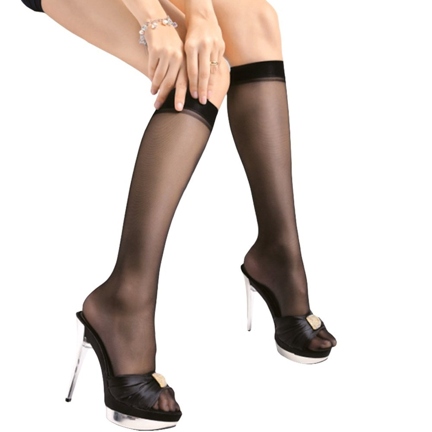 11eb5ed8038 Get Quotations · Kloud City Pack of 2 Women s Semi Sheer Reinforced Toe Knee  High Socks Comfort Top Smooth