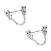 316L Surgical Steel Bars Chains Dragon Heads Red Eye Crystal Nipple Ring Body Jewelry