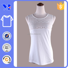 Lace top spandex easy wear fit hip-length vest white shirt
