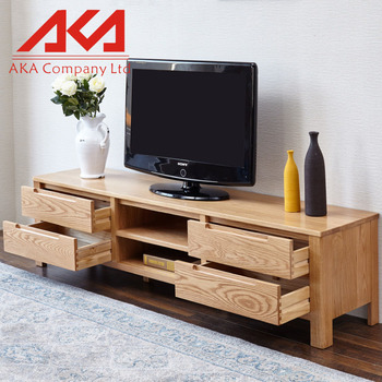 Superior Modern Long Oak Led TV Stand Table With 2 Storage Cabinet And Racks