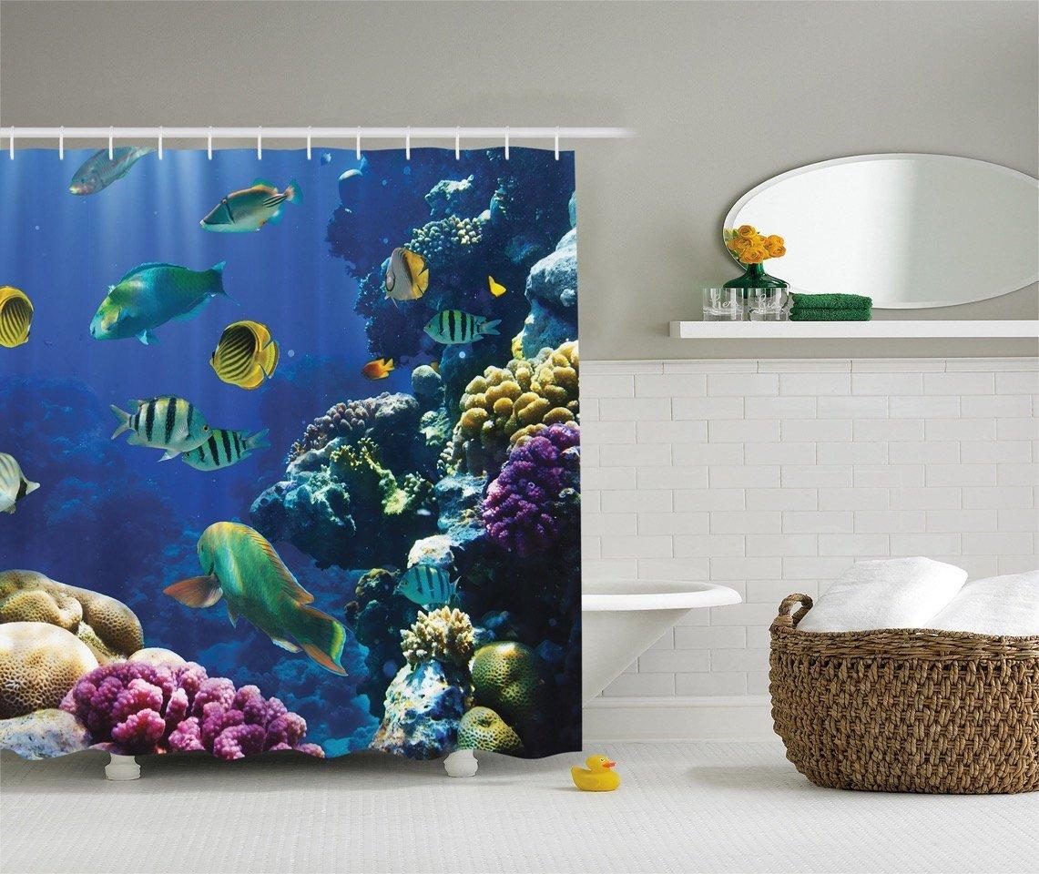 Under Water Ocean Beach Tropical Coral Reef Fish Fabric Shower Curtain