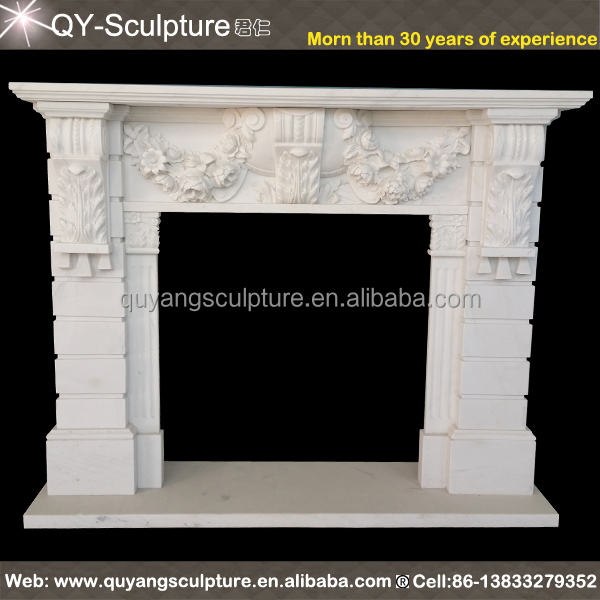 BEAUTIFUL HAND CARVED SOLID MARBLE ESTATE EUROPEAN DESIGN FIREPLACE MANTEL