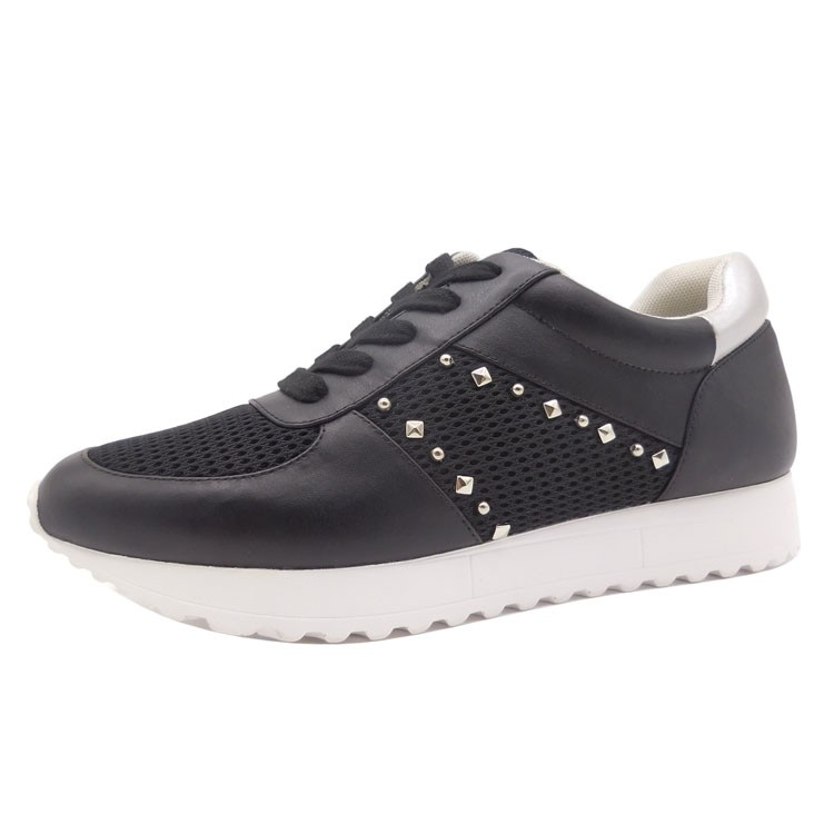 OEM and ODM Free sample CM Mesh Lace up White flat Round Toe Black Running Sport <strong>shoes</strong> for female