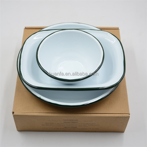 Enamelware Serving Bowl - Solid White with Blue Rim Or Custom Colorful Rim