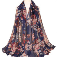 Wholesale Stock Women Muslim Voile Scarf Flowers Print Fashion Hijab