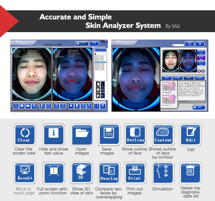 Venda imperdível máquina de análise de pele digital analisador facial portátil