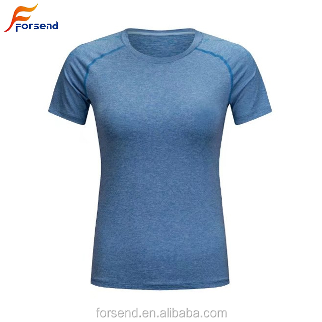 Women Gym T Shirts Plain Dry Fit Sports Running T Shirts Blue Color