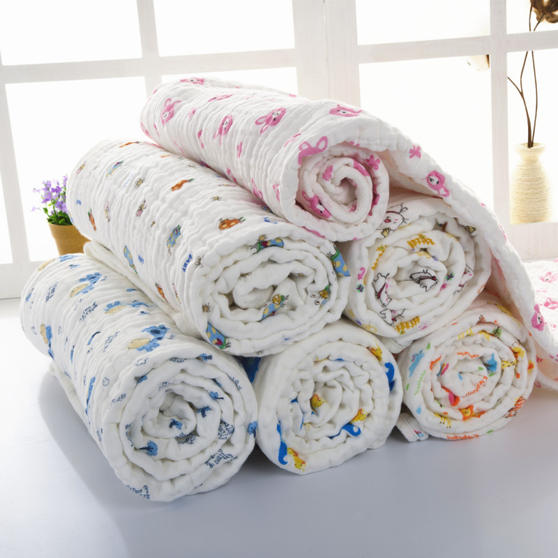 high quality cotton absorbent 6 layer custom print muslin blanket for kids