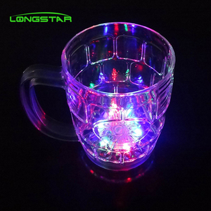 Novelty bar item flashing LED cup custom beer cup with handle for night party