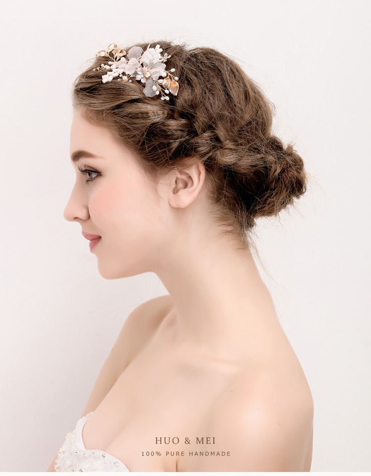 Gold Plated Flower Styles Crystal Rhinestone Bridal  Wedding Hair clip Jewelry Accessories for Wedding