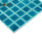 Latest Design 48x48mm Peacock Blue Double Layer Ice Cracked Effect Ceramic Porcelain Mosaic Tile for Swimming Pool