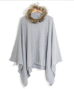 EY0167C Wholesale Cotton Poncho Wears Women Thick Winter Cotton Coat with Fur Collar