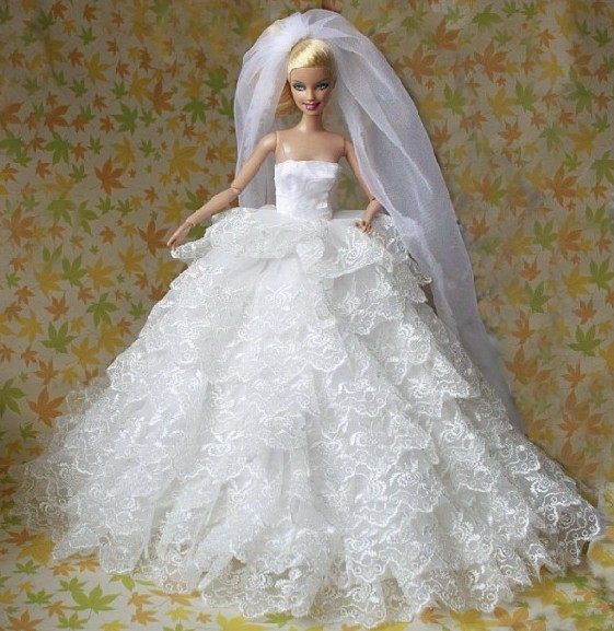 Western Style Wedding Gowns: Excellent For Barbies Doll Luxurious Nine Layers Wedding