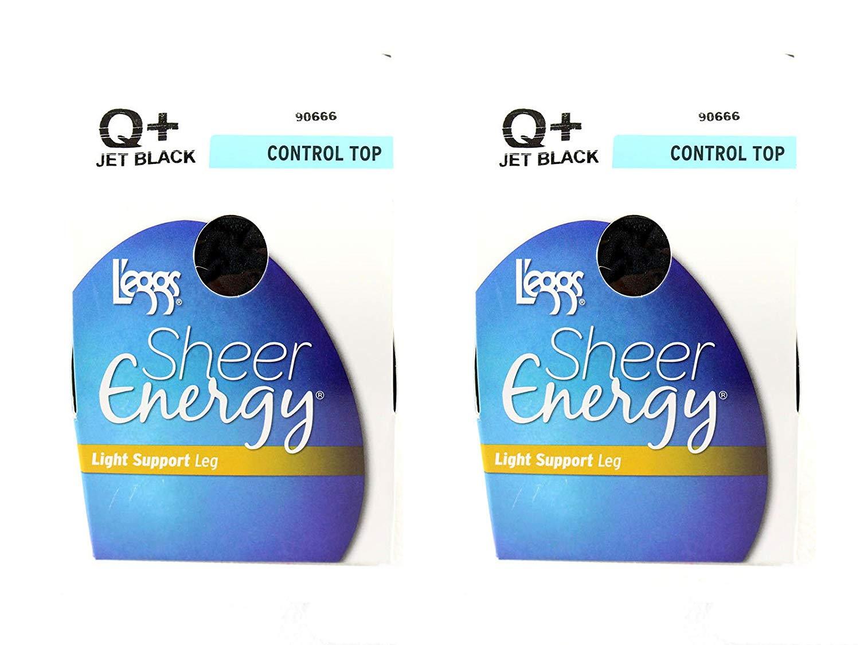 1697dadbc2f Lot of 2 l eggs sheer energy control top Q+ jet black women clothing hosiery