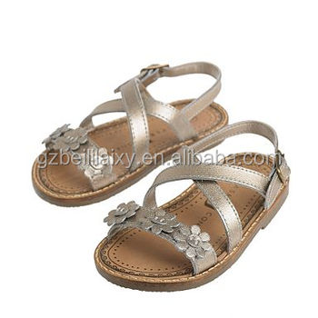 New Designs Flat Sandals Girls School Shoes Gold Flower Strappy ...