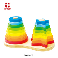Educational blocks montessori toy children wooden rainbow stacker for kids 1+