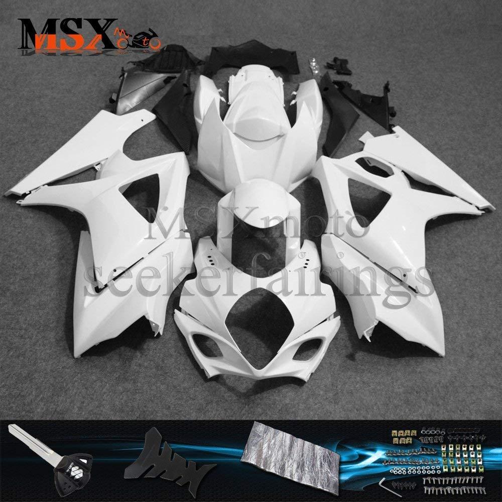 MSXmoto Fairing Kit Fit for Suzuki GSXR1000 K7 07 08 GSX1000R 2007 2008 Motorcycle Fairing Kit Plastic ABS plastic Injection Molding Kit Complete Motorcycle Fairing Bodywork Painted(Unpainted White)