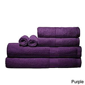 Luxurious Rayon From Bamboo Super-absorbent Solid 6-piece Towel Set (Purple)