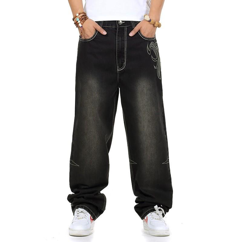 2019 Wholesale Jeans Men Baggy Black Casual Rap Jeans ...