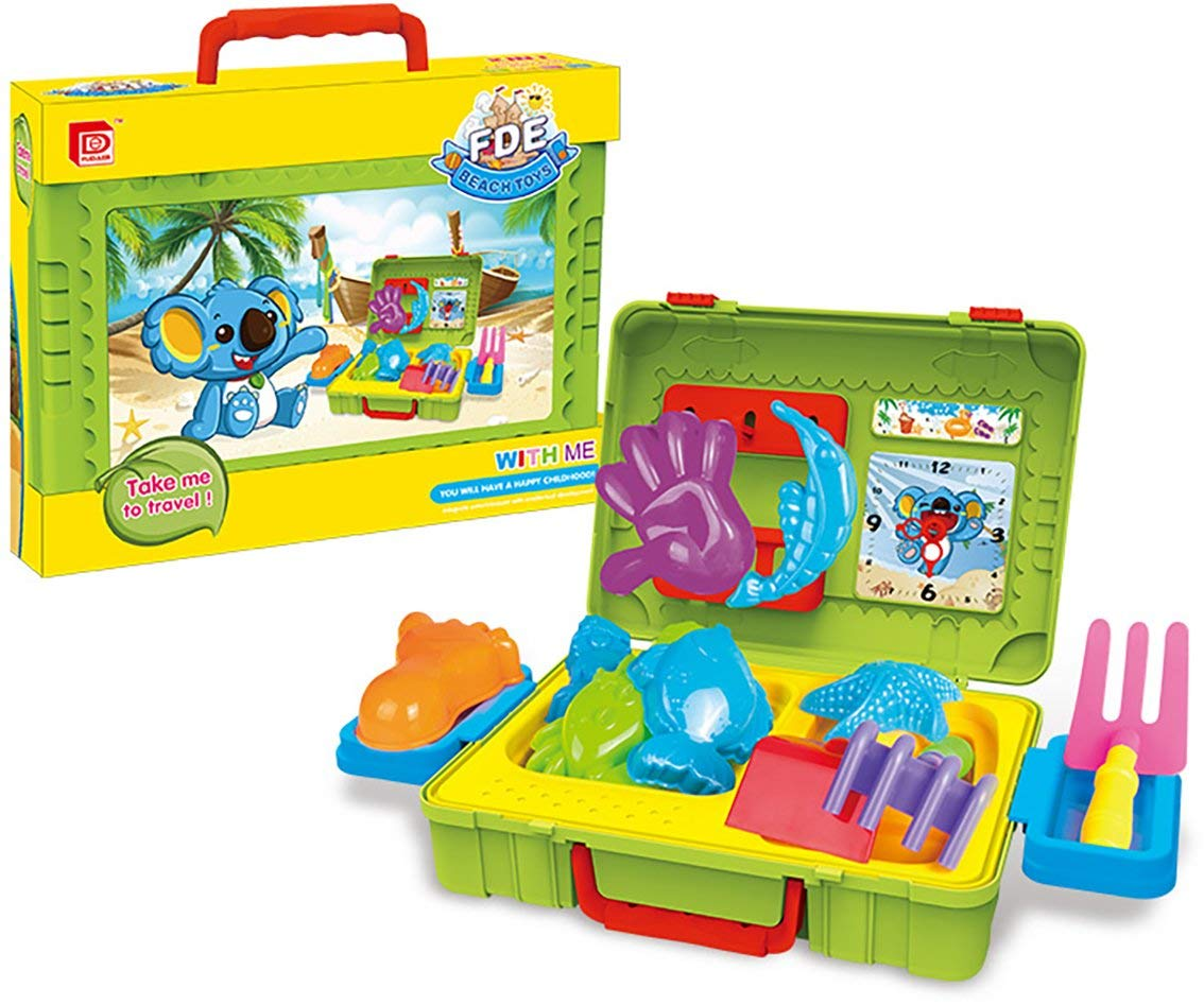 Beach Toys Play Set, Sand Beach Toy Suitcase, Durable Kids Beach Toy Play Set with a 2in1 Suitcase/ Working Table Design, 16 Piece Accessory: Beach Molds, Shovel, Rake, Watering Pot, Sea Creatures, a