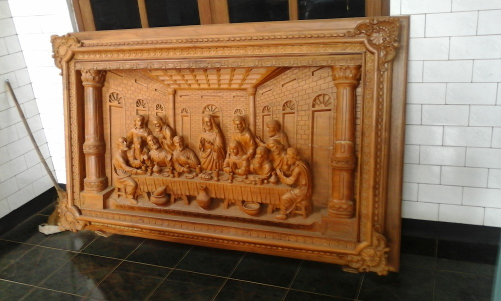 Last supper wood carved buy relief carving teak wood product