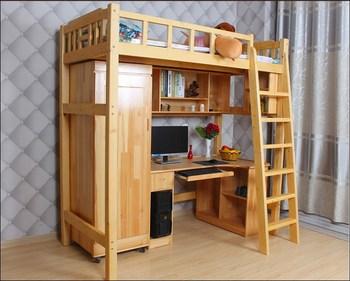 Lit superposé avec armoire bureau bibliothèque école dortoir lit