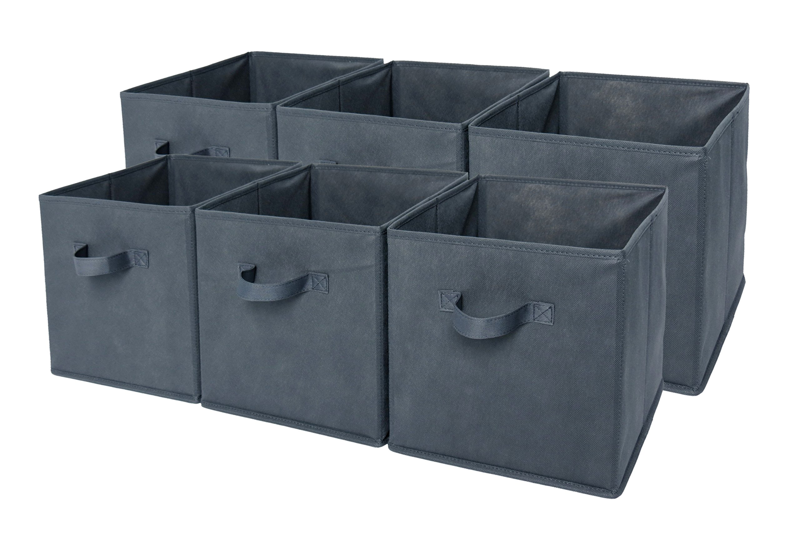 Sodynee Foldable Cloth Storage Cube Basket Bins Organizer Containers Drawers, 6 Pack, Grey