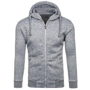 Promotion cheap high quality fashion mens grey zip hoodie