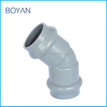 Chinese Supplier Plastic Pipe Fitting Pvc Grey Two Faucet 45 Degree Elbow With Rubber Ring