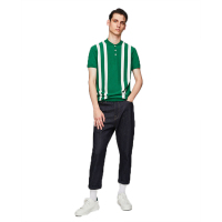 OEM men tops fashion contrasting stripes Knit polo shirt