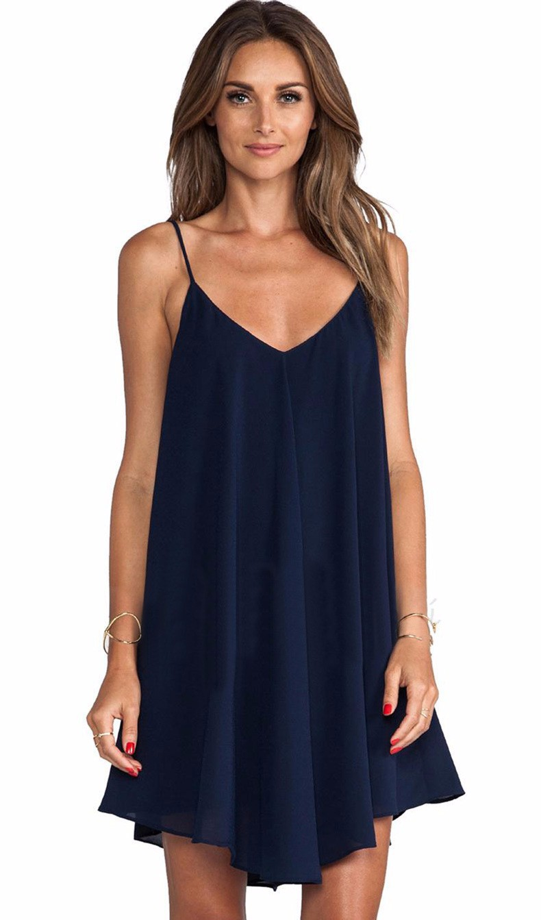 vestidos summer dress 2015 sleeveless spaghetti strap loose casual summer sexy chiffon women. Black Bedroom Furniture Sets. Home Design Ideas