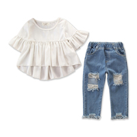 HYS18 Fashion Baby Girl Clothing Set boutique Tops+Ripped Jeans Denim Pant 2PCS Children Girls Clothes For Wholesale